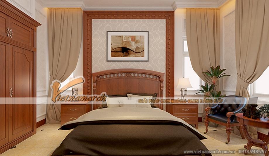 Thiết kế nội thất phòng ngủ master cho biệt thự 3 tầng, phong cách tân cổ điển