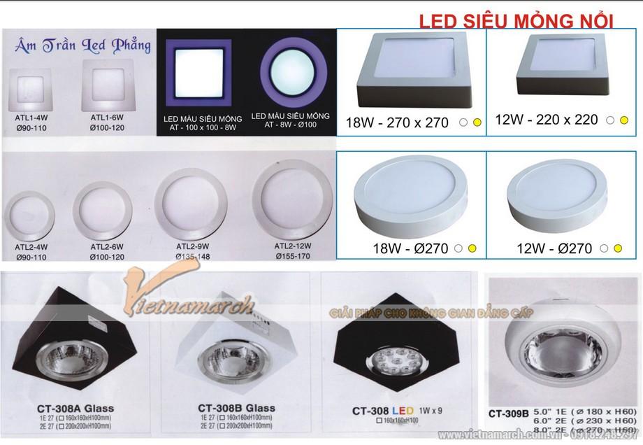 Đèn LED âm trần đa dạng về chủng loại, kích cỡ, công suất, màu sắc