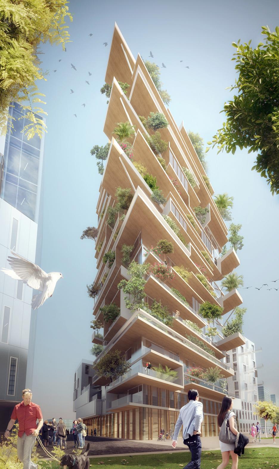 Jean Paul Viguier đề xuất xây dựng tòa nhà với thiet ke kien trucbằng gỗ hệ thống cây xanh được trộng ngoài logia của mỗi tầng