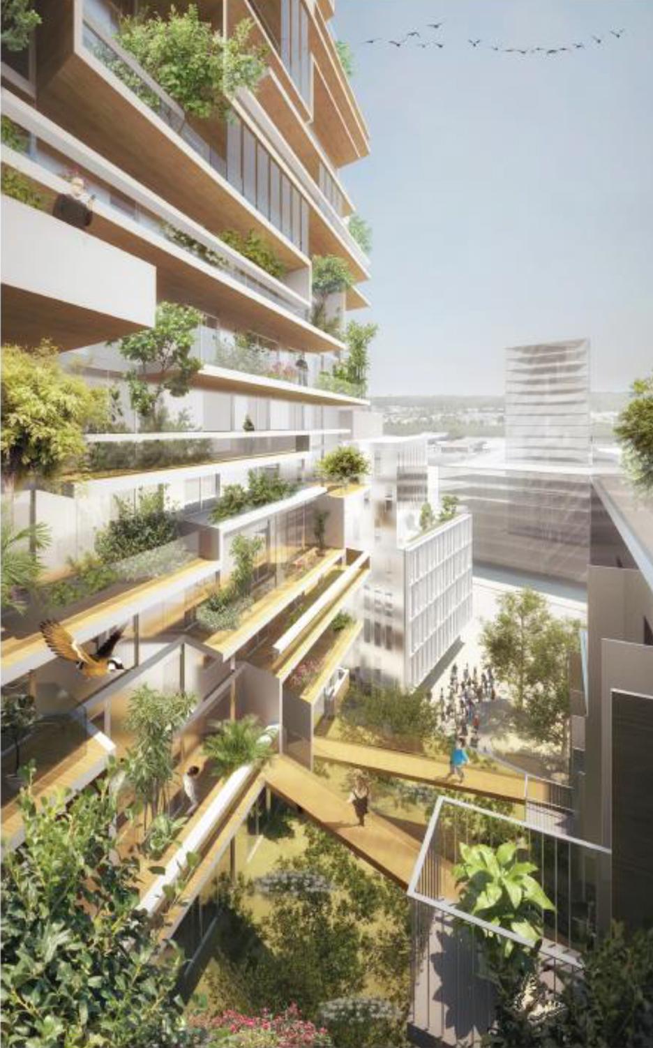 """Quần thể gồm tòa nhà 18 tầng với ban công trồng nhiều cây và lối ra khu vườn chung được ví như """"rừng đô thị"""
