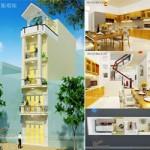 Thiết kế kiến trúc và nội thất nhà ống 5 tầng có diện tích mặt tiền chưa đến 4m tại Nam Định