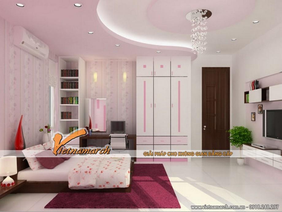 Tư vấn thiết kế mẫu trần thạch cao đẹp cho phòng ngủ của vợ chồng mới cưới.