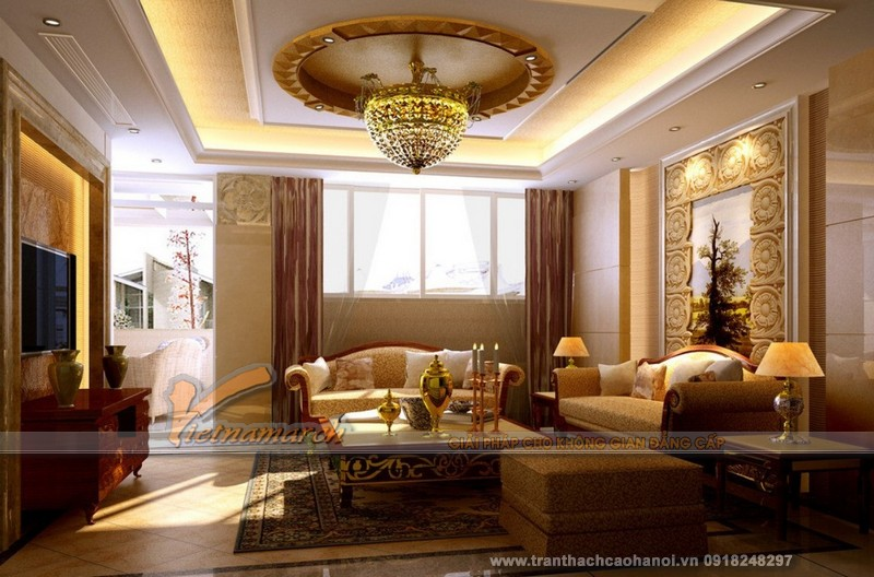 Mẫu thiết kế trần thạch cao phòng khách cổ điển đẹp và sang trọng01
