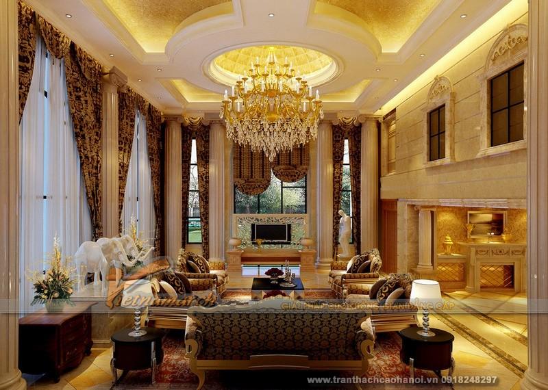 Mẫu thiết kế trần thạch cao phòng khách cổ điển đẹp và sang trọng 04