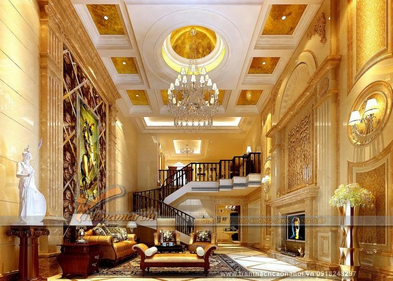 Mẫu thiết kế trần thạch cao phòng khách cổ điển đẹp và sang trọng05