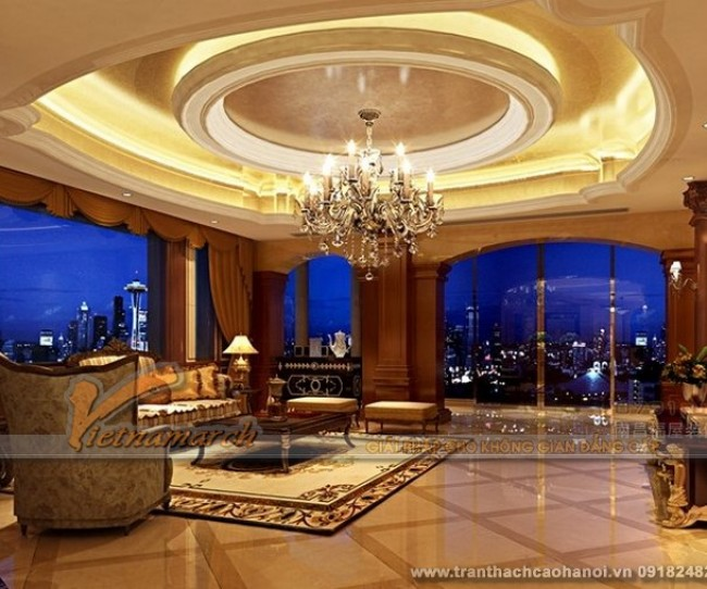 Mẫu thiết kế trần thạch cao phòng khách cổ điển đẹp và sang trọng 6