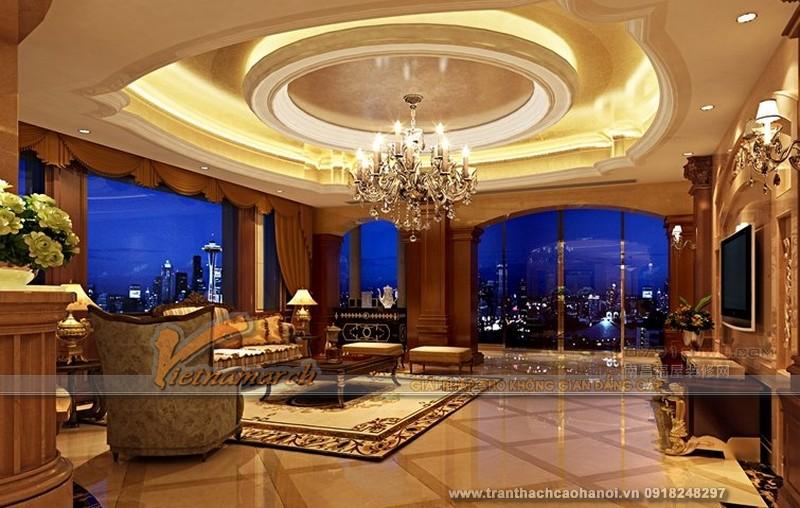 Mẫu thiết kế trần thạch cao phòng khách cổ điển đẹp và sang trọng 06