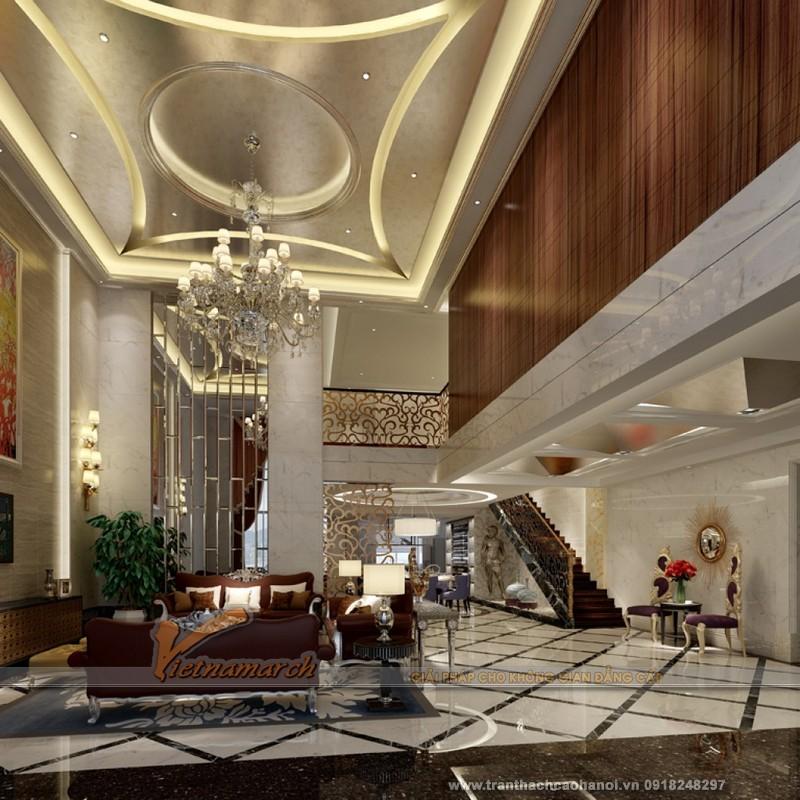 Mẫu thiết kế trần thạch cao phòng khách cổ điển đẹp và sang trọng 07