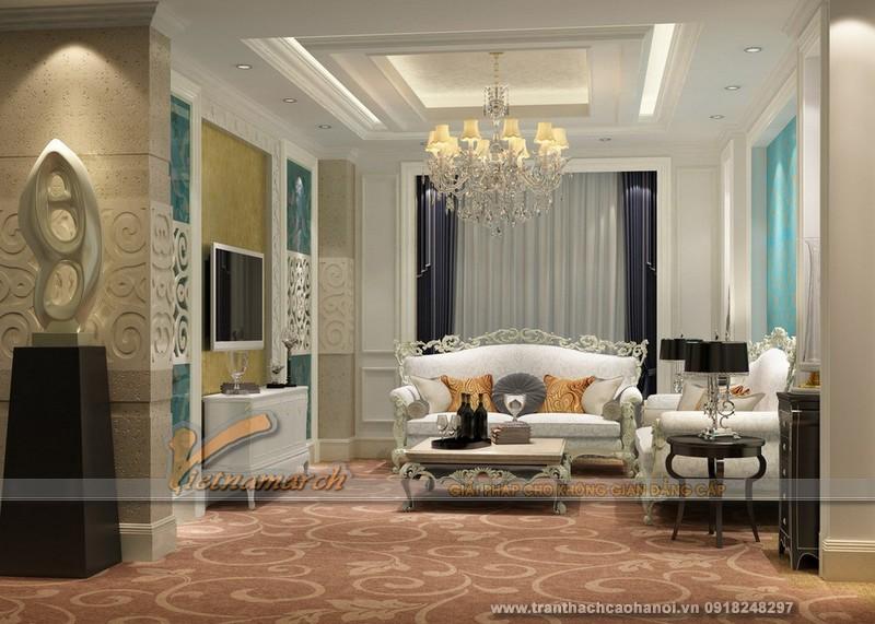 Mẫu thiết kế trần thạch cao phòng khách cổ điển đẹp và sang trọng 08