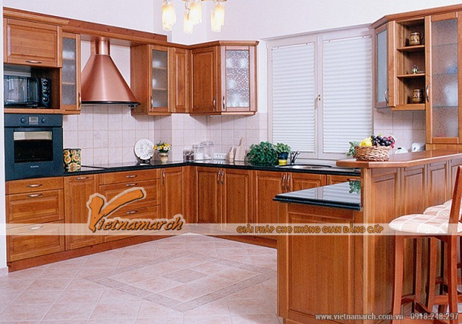 Mẫu tủ bếp gỗ cao cấp