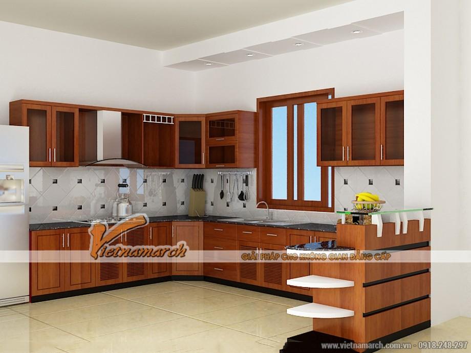 Mẫu tủ bếp gỗ chữ U với thiết kế hiện đại kèm bàn Bar