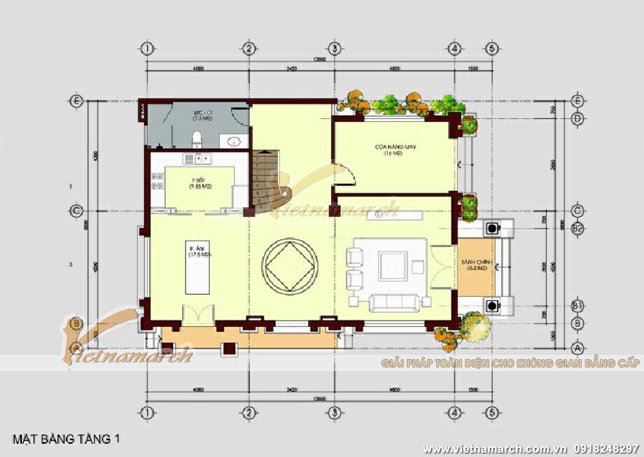 Thiết kế mặt bằng tầng 1 cho biệt thự Quảng Ninh