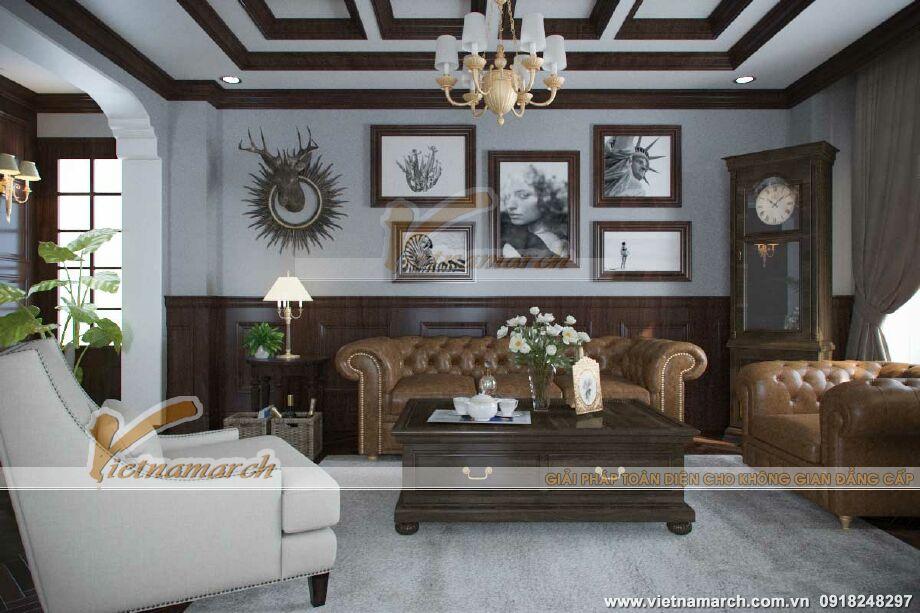 Thiết kế nội thất phòng khách biệt thự Pháp cổ điển