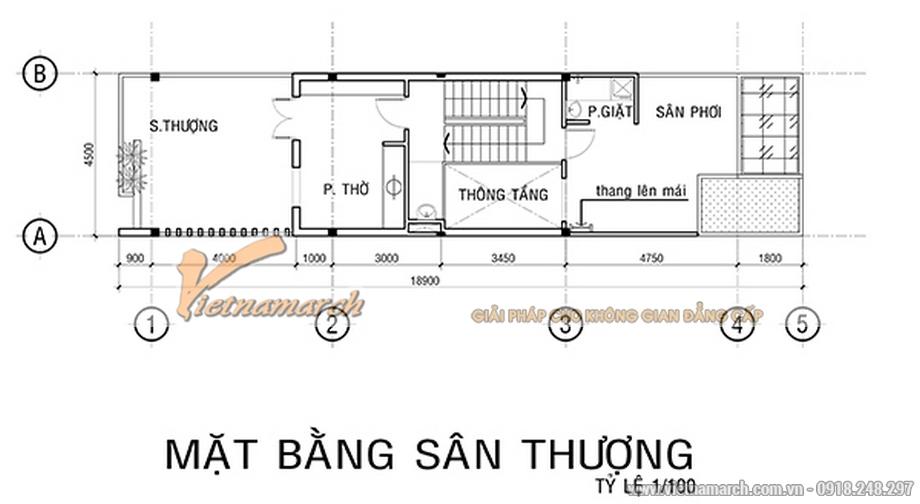Thiết kế mặt bằng tầng 4 cho nhà lô phố 4 tầng hiện đại