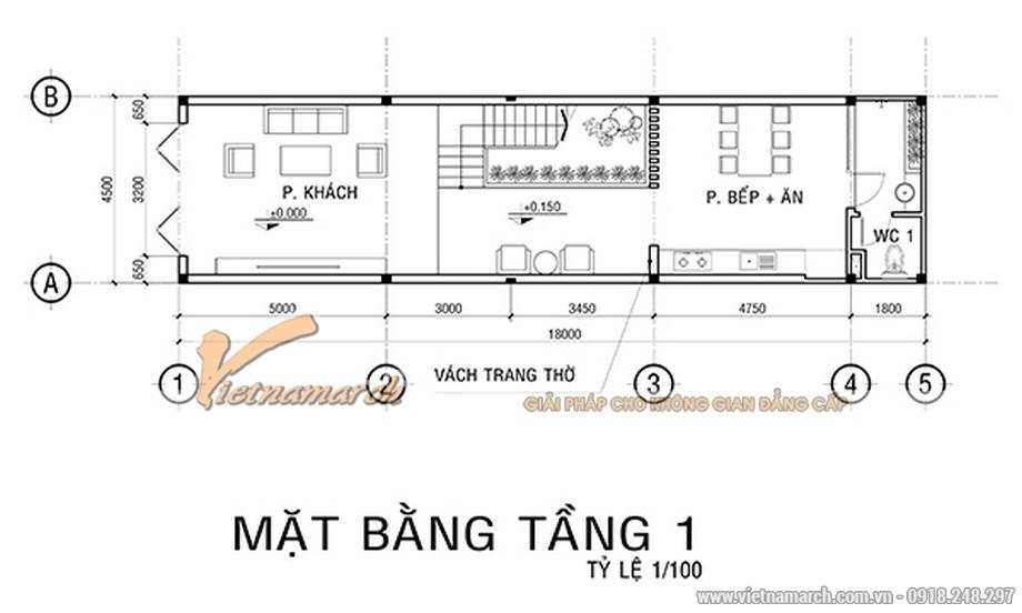 Thiết kế mặt bằng tầng 1 cho nhà lô phố 4 tầng hiện đại