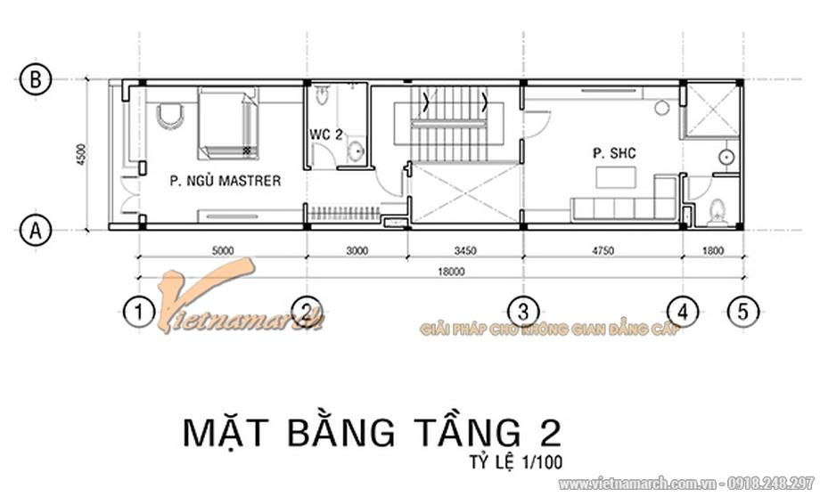 Thiết kế mặt bằng tầng 2 cho nhà phố 4 tầng hiện đại