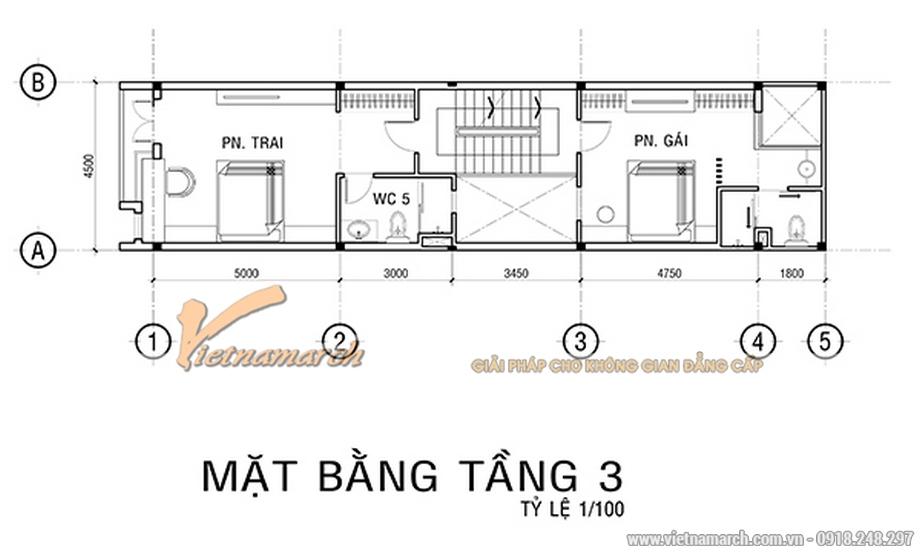 Thiết kế mặt bằng tầng 3 cho nhà lô phố 4 tầng hiện đại