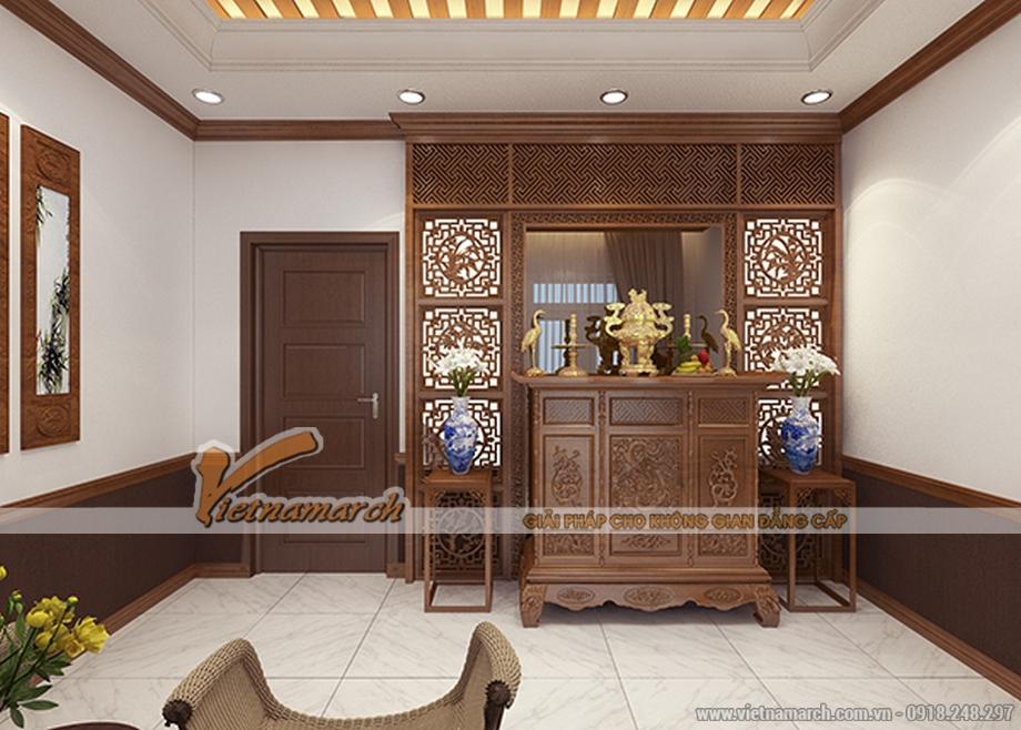 Thiết kế nội thất phòng thờ cho nhà lô phố 4 tầng hiện đại