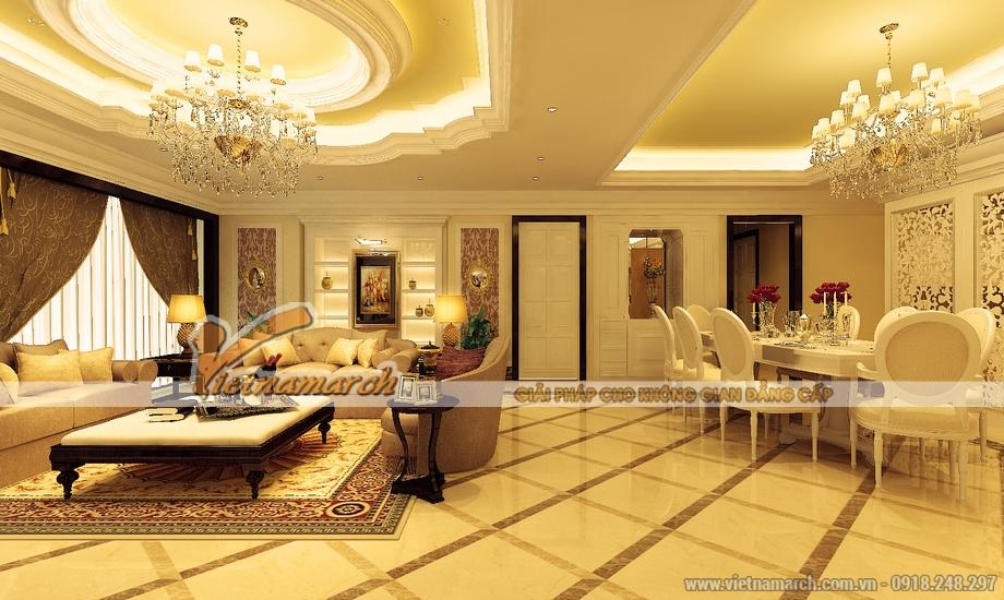 Thiết kế nội thất phòng khách biệt thự Quảng Ninh
