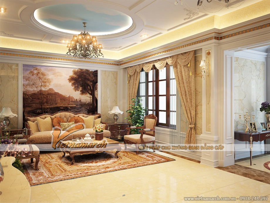 Thiết kế nội thất phòng khách cho Biệt thự 3 tầng phong cách cổ điển