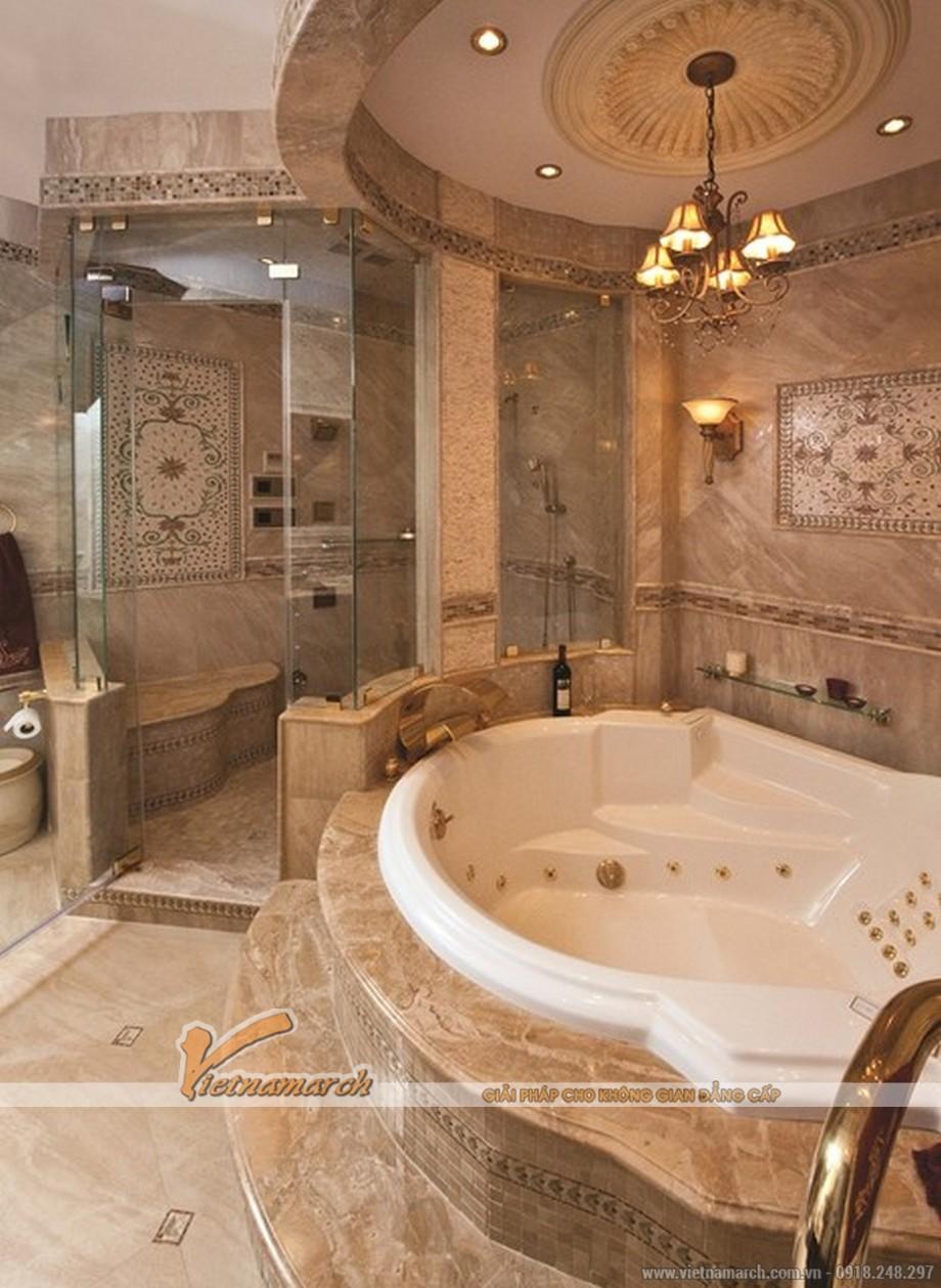 Thiết kế nội thất phòng vệ sinh master cho biệt thự tân cổ điển 3 tầng tại Ninh Bình