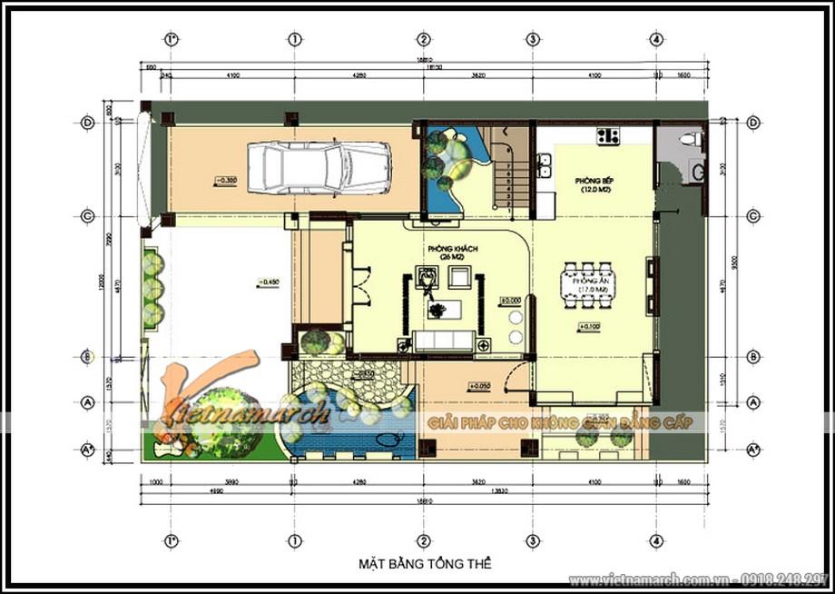 Mặt bằng tầng 1 của Biệt thự 3 tầng, phong cách cổ điển