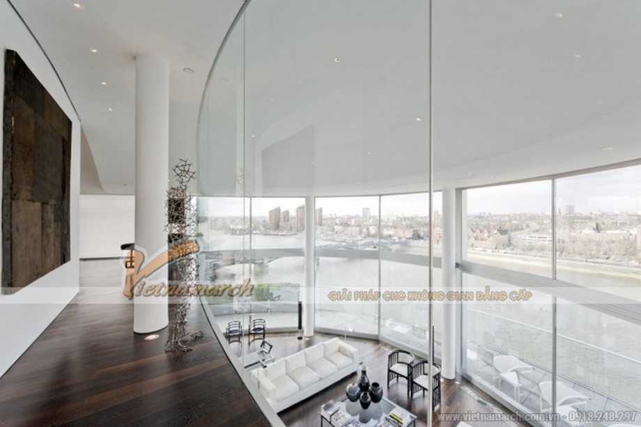 Toàn cảnh thiết kế nội thất phòng khách nhìn từ trên tầng 2 xuống