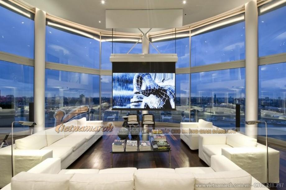 Phòng khách sở hữu view nhìn đẹp nhất với thiết kế toàn bộ hệ cửa kính lớn