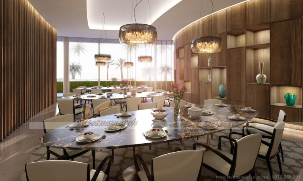 Phòng ăn với nội thất cao cấp cùng thiết kế sang trọng