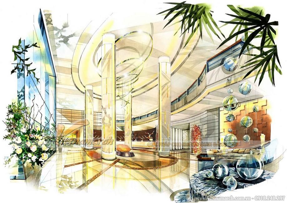Thiết kế đẹp mắt tại tiền sảnh tầng 1 của khách sạn nhà hàng Four Wings