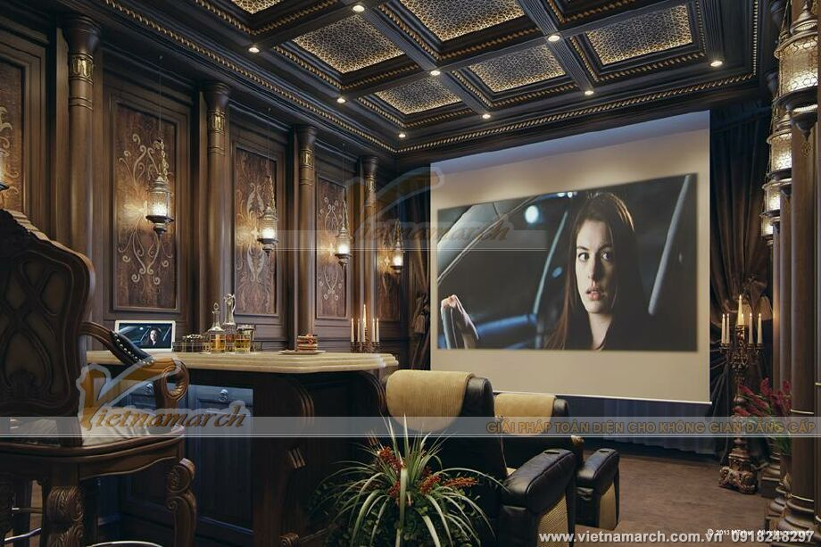 Thiết kế nội thất phòng xem phim biệt thự nhà vườn cổ điển tại Phú Yên