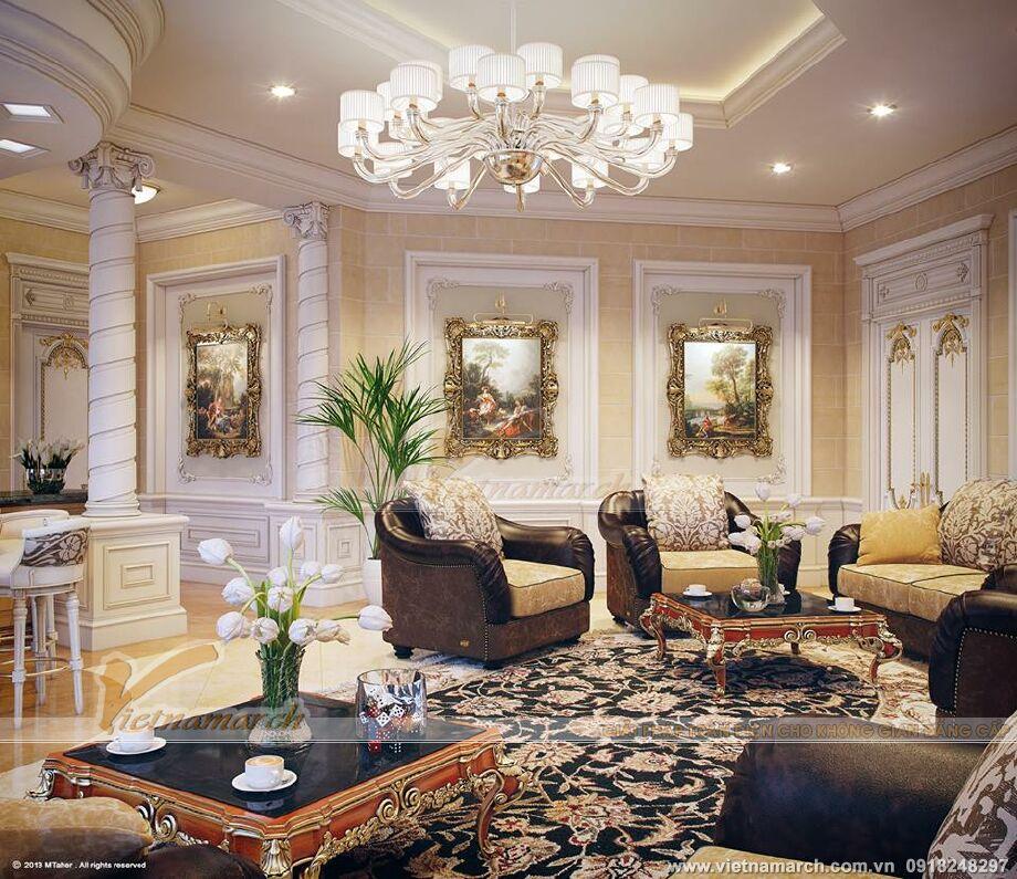 Mẫu trần thạch cao cổ điển phòng khách tại biệt thự Ecopark đẹp sang trọng 05