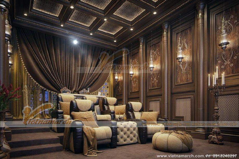 Thiết kế nội thất phòng xem phim biệt thự nhà vườn sang trọng tại TP Hồ Chí Minh