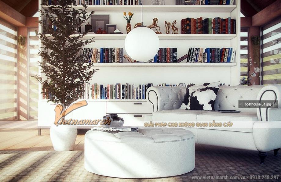 Thiết kế nội thất phòng đọc biệt thự nhà vườn sang trọng tại TP Hồ Chí Minh