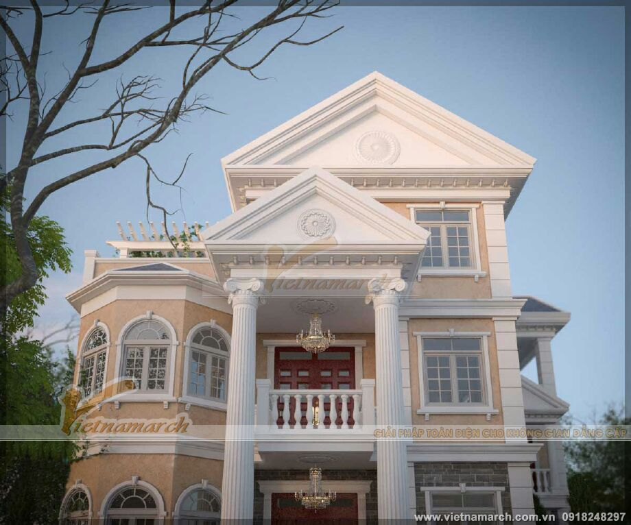 Kiến trúc kiểu Pháp của ngôi biệt thự 3 tầng tại Ninh Bình