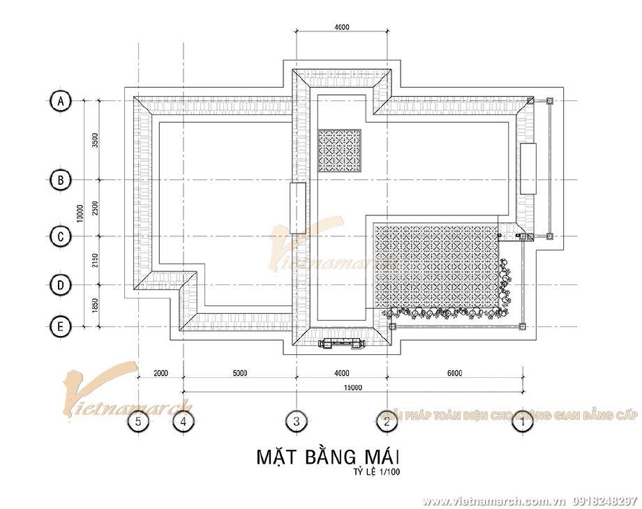 Thiết kế mặt bằng mái cho biệt thự tân cổ điển 3 tầng tại Ninh Bình