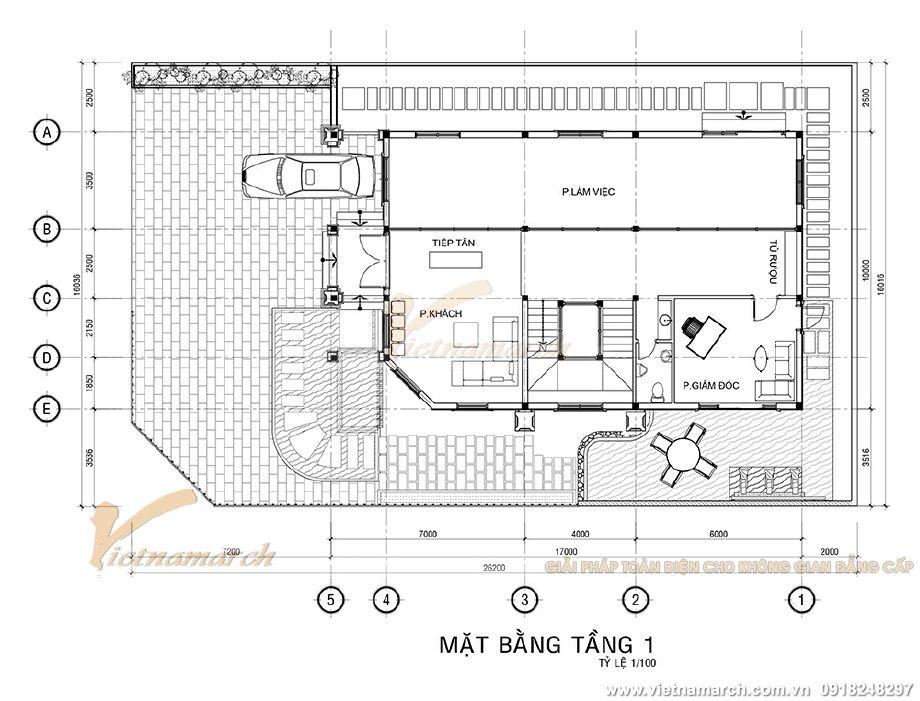 Thiết kế mặt bằng tầng 1 biệt thự tân cổ điển 2 tầng tại Ninh Bình