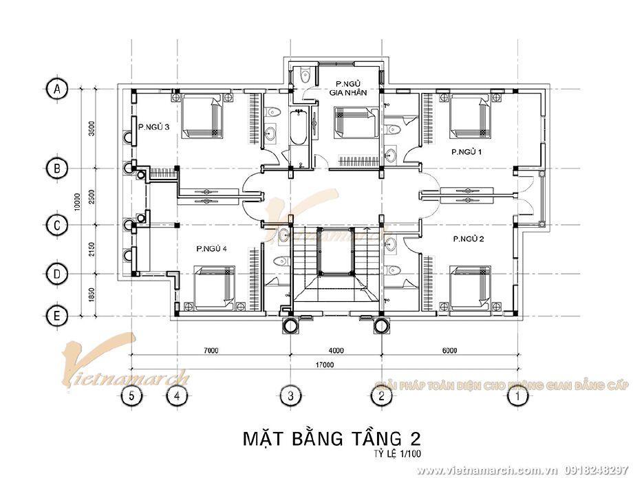 Thiết kế mặt bằng tầng 2 biệt thự tân cổ điển 3 tầng tại Ninh Bình