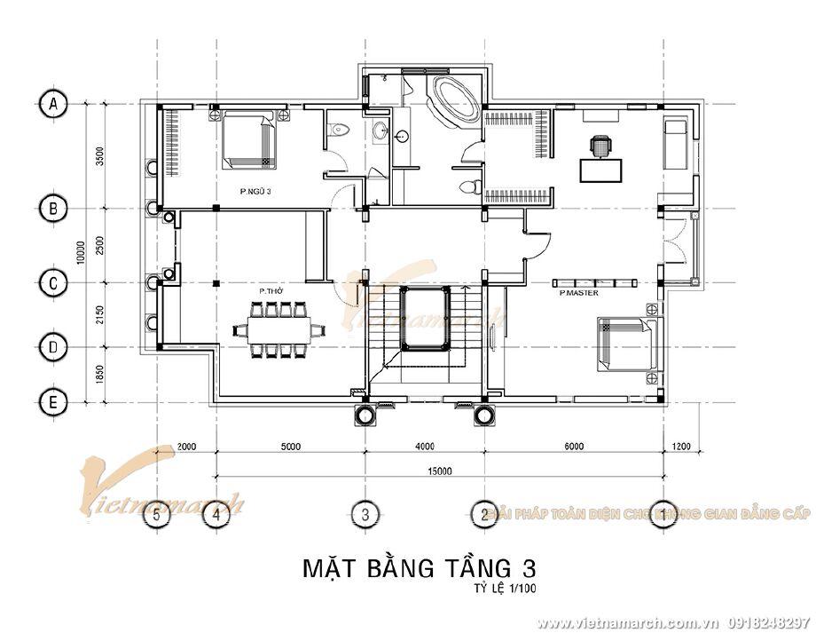 Thiết kế mặt bằng tầng 3 cho biệt thự tân cổ điển 3 tầng tại Ninh Bình