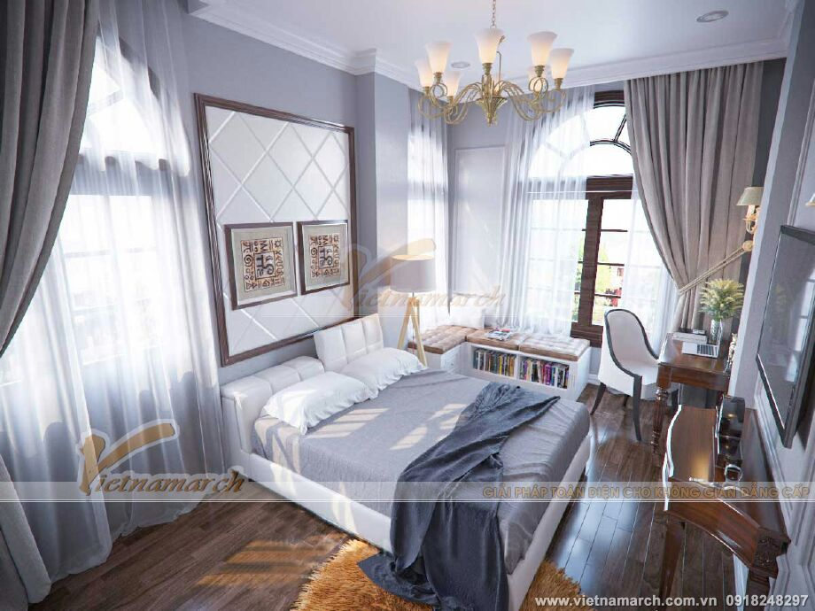 Thiết kế nội thất phòng ngủ cho biệt thự cổ điển 3 tầng tại Ninh Bình