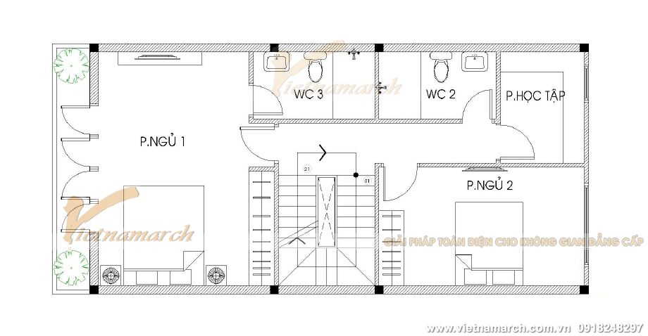 Thiết kế mặt bằng tầng 2,3,4 cho nhà lô phố hiện đại 4 tầng tại Hải Phòng
