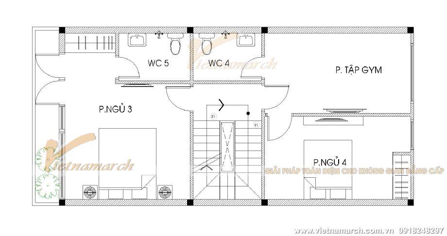 Thiết kế mặt bằng tầng 3 cho nhà lô phố hiện đại tại Hải Phòng