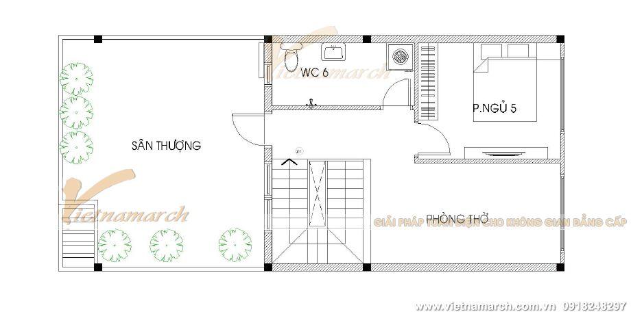 Thiết kế mặt bằng tầng 4 cho nhà lô phố hiện đại 4 tầng tại Hải Phòng