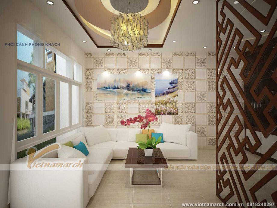 Thiết kế nội thất phòng khách nhà lô phố hiện đại 4 tầng tại Hải Phòng