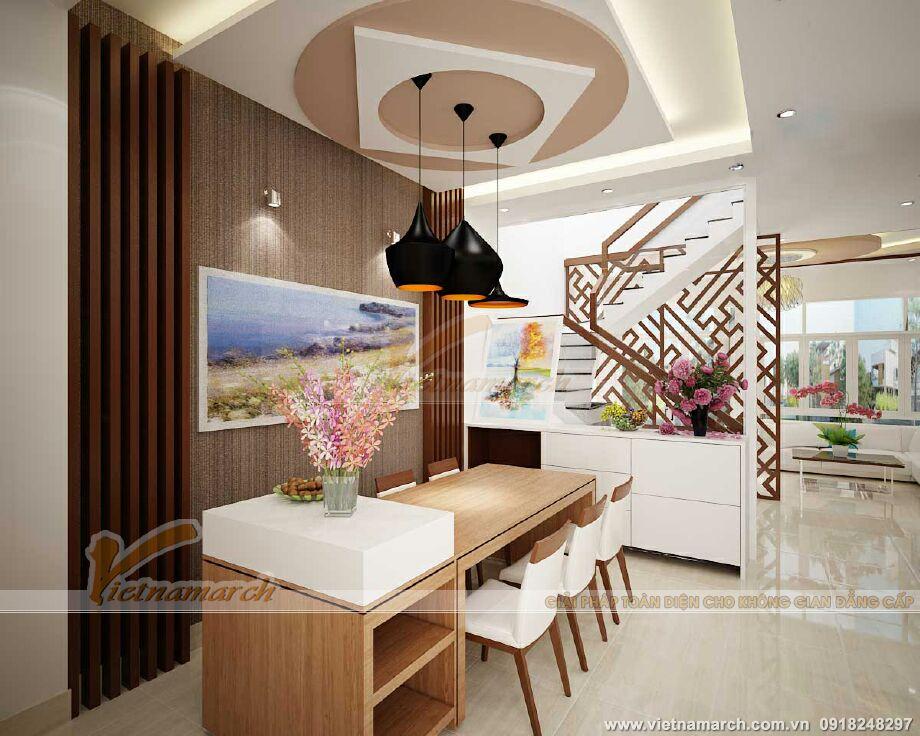 Thiết kế nội thất phòng ăn nhà lô phố hiện đại 4 tầng tại Hải Phòng