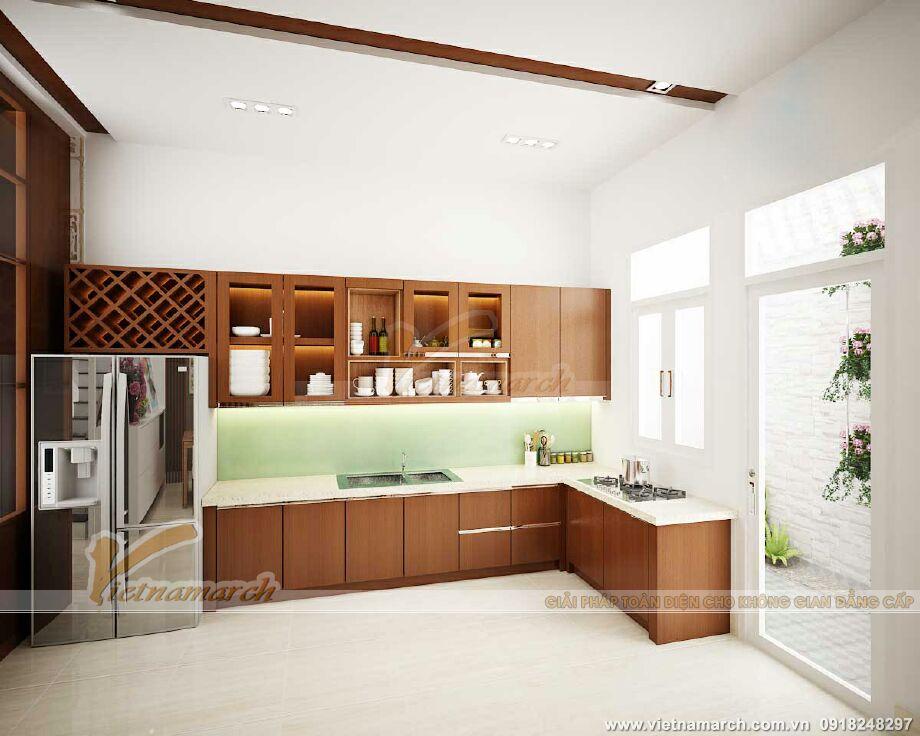 Thiết kế nội thất phòng bếp nhà lô phố hiện đại 4 tầng tại Hải Phòng