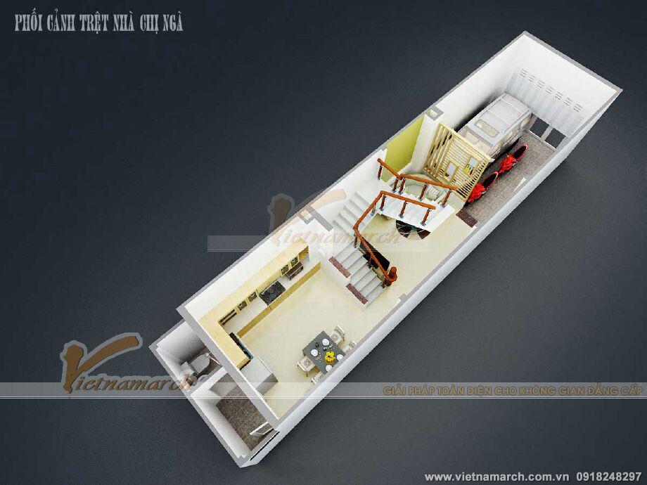 Thiết kế mặt bằng tầng 1 cho nhà lô phố tân cổ điển tại Nam Định