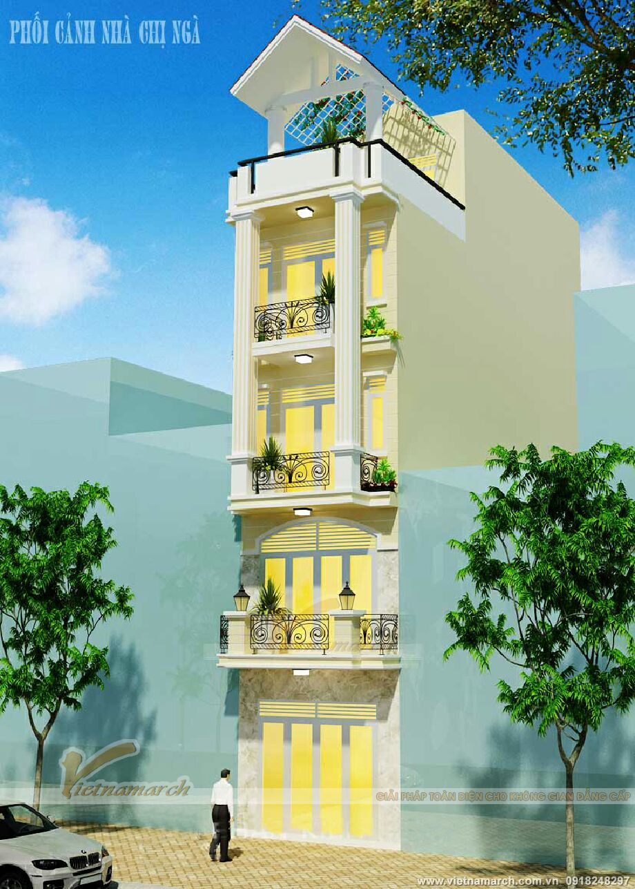 Thiết kế nhà lô phố tân cổ điển đẹp tại Nam Định