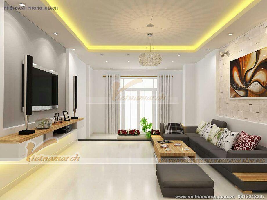 Thiết kế nội thất phòng khách cho nhà lô phố 3 tầng hiện đại tại Nan Định