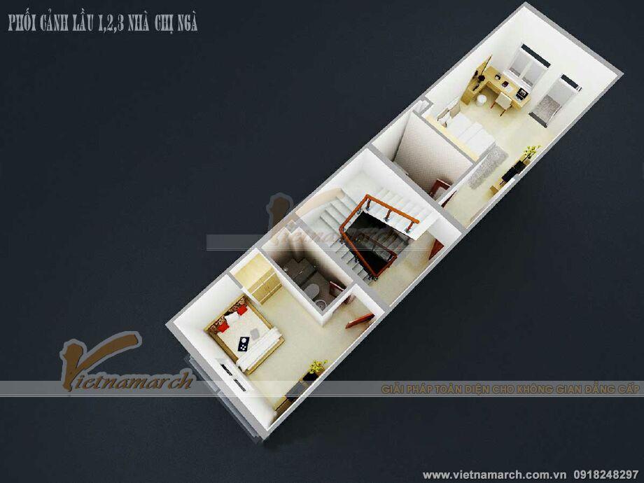 Thiết kế mặt bằng tầng 3 cho nhà lô phố tại Nam Định
